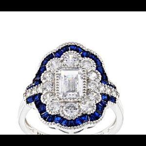 3.57CTW WHITE DIAMOND SIMULANT & BLUE SPINEL RING